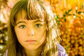 Portrait of a beautiful seven year old girl — Stock Photo