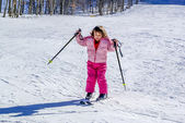 Three year old girl skiing for the first time — Stock Photo