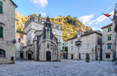 Church of Saint Luke and the square in Kotor, Montenegro — Foto de Stock
