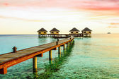 Beautiful water bungalows and the beach in Maldives — Stock Photo
