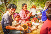 Nepalese people playing traditional music instruments — Stockfoto