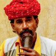 Snake charmer kissing snake in India — Stock Photo #75733085
