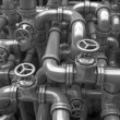 Industrial 3d illustration. Maze made of pipes — Stock Photo #56083689