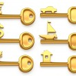 Gold keys symbolizing Euro,Dollar,Yen,House,Yacht and car. Concept illustration — Stock Photo #56567867