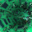 Tunnel made  of mainboards and electrical parts. 3d illustration — Stock Photo #56567937