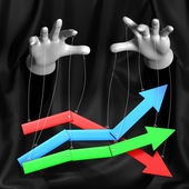 Global conspiracy in the business. Magician manages a rising and falling markets.Conceptual illustration — Stock Photo