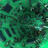 Tunnel made  of mainboards and electrical parts. 3d illustration — Stock Photo
