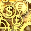 Fantasy golden clockwork with currency sign. Euro gear, dollar, yena, pound — Stock Photo #56589625