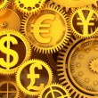Fantasy golden clockwork with currency sign. Euro gear, dollar, yen, pound — Stock Photo #56589639