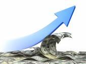 Arrow go up on wave of dollar bills. — Stock Photo