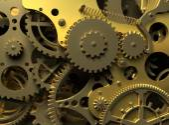 Fantasy golden clockwork. Industry background — Stock Photo