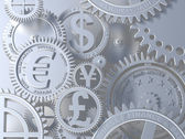 Silver clockwork with gears like currency sign. Euro gear, dollar, yen, pound — Stock Photo