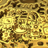 Fantasy golden clockwork made of cartoon curves gears — Stock Photo