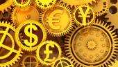 Fantasy golden clockwork with currency sign. Euro gear, dollar, yen, pound — Stock Photo