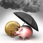 Umbrella protects piggy bank,  from bad weather. Finance illustration — Stock Photo