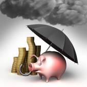 Umbrella protects piggy bank,  against bad weather. Guard against crisis. — Stock Photo