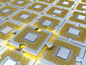 Puzzle made of fantasy CPU. Conceptual technology 3d illustration — Stock Photo