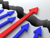 Business overcomes obstacles applying different strategy. Red arrow has been successful. — Stock Photo
