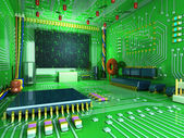 Fantasy digital room. Futuristic home inside. All in the interior made of electronic components — Stock Photo