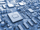 Fantasy circuit board. Technology 3d illustration — Stock Photo