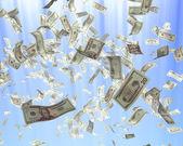 Flying dollars banknotes. Finance 3d illustration — Stock Photo