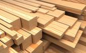 Construction materials. Closeup different wooden boards and plank. Industrial 3d Illustration — Stock Photo