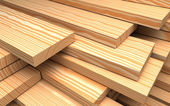 Construction materials. Closeup different wooden boards and plank. Industrial 3d Illustration — Stockfoto