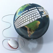 Digital world. Keyboard on Earth. Elements of this image are furnished by NASA — Stockfoto