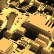 Fantasy circuit board like futuristic city. High Technology 3d animation. — Stock Video #56631523