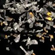 Falling dollar bills on fire on black background. Finance 3d animation. Added alpha channel. — Stock Video #56631777