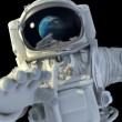 Astronaut in open space. He looks at the planet Earth  3d animation. — Stock Video #56632519