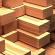 Timber industry objects. Finished wood beams or plank at  a warehouse. Slow motion and loop 3d animation. — Stock Video #56637333