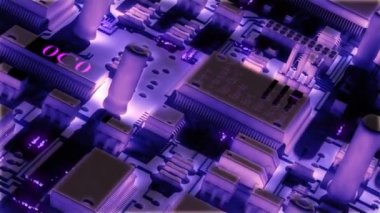 Modern electronic circuit board or mainboard with chips and microcircuits.  High Technology 3d animation. — Stock Video