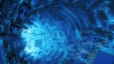 Abstract hardware tunnel made of chips and microcircuits. High technology futuristic 3d animation. — Stock Video