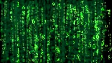 Numbers vertical motions with matrix style and green color — Stock Video