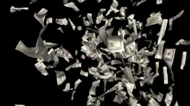 Money falling. Business and finance 3d animation. Added alpha channel. — Stock Video