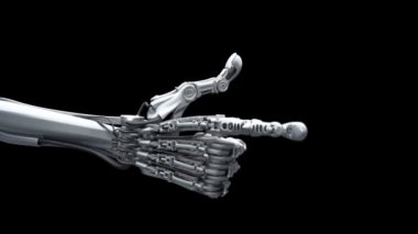 Robot hand counting from 1 to 5 use his fingers. High technology 3d animation. Full HDTV with alpha channel. — Stock Video