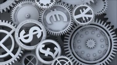 Business video background. Fantasy silver clockwork with gears currency signs, dollar symbol, pound, yen and euro. Loopable finance 3d animation. HDTV 24fps — Stock Video