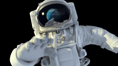 Astronaut in open space. He looks at the planet Earth  3d animation. — Stock Video