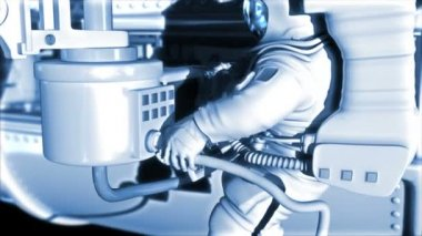 Space station at the Earth's orbit. Astronaut works in open space. He  adjusts communication devices, satellite antenna. High technology 3d animation — Vídeo de stock