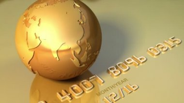 Golden globe rotates around his axis on golden credit card. Business, travel 3d animation for video background — Stock Video