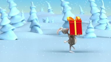 Cartoon rabbit drags big Christmas gifts in holiday red boxes at fantasy winter forest. Loop 3d animation — Stock Video