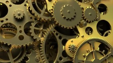 Industrial video background. Fantasy golden clockwork with gears and springs. 3d animation. — Stock Video