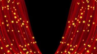 Abrir y cerrar la cortina roja, animación 3d — Vídeo de stock
