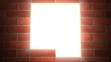 Building wall of red bricks . Conceptual 3d animation. The wall closes light in window — Stock Video