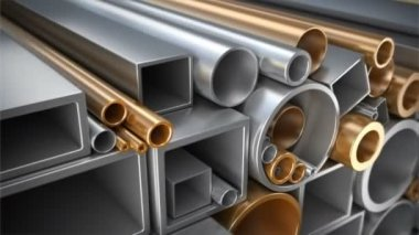 Different square tubing, circular tubes, round steel, copper and aluminum pipes. — Stock Video