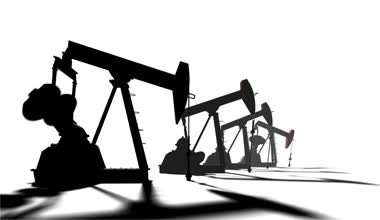 Petroleum-producing. Silhouette pumpjack on white background.  Industrial 3d animation — Stock Video