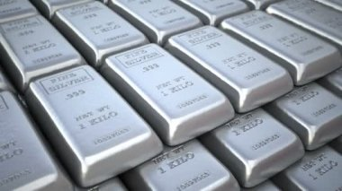 Silver bars or ingots in bank vault or safe. Finance loop  3d animation. — Stock Video