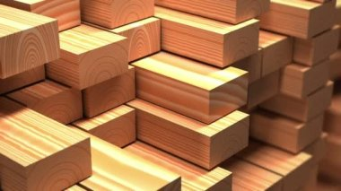 Timber industry objects. Finished wood beams or plank at  a warehouse. Slow motion and loop 3d animation. — Vídeo Stock