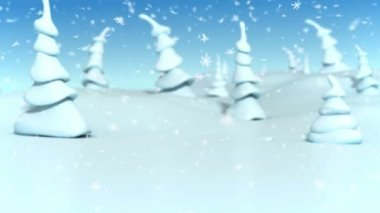 Snowfall at a fantasy forest. Christmas 3d animation. — Stock Video